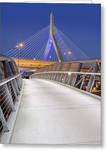 Bunker Hill Greeting Cards - Path To The Zakim Bridge Greeting Card by Susan Candelario