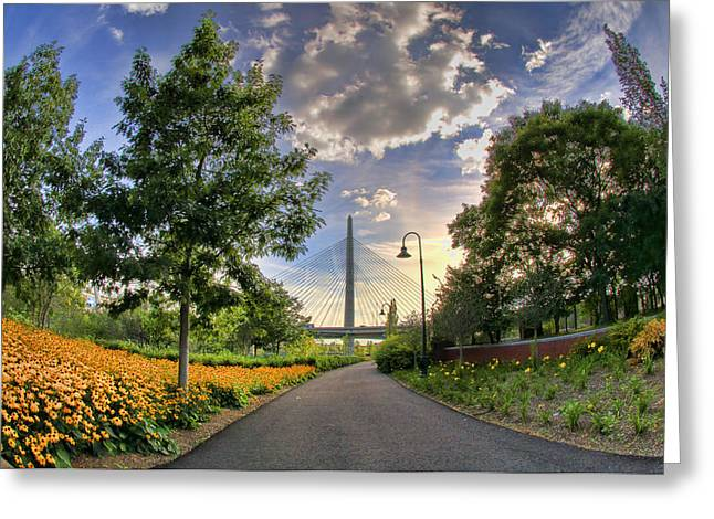 Jogging Greeting Cards - Path to Zakim-Boston Greeting Card by Joann Vitali