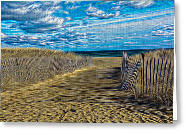Sand Fences Mixed Media Greeting Cards - Path Way To The Beach Greeting Card by Douglas Miller