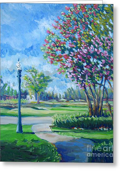 Stockton Paintings Greeting Cards - Path With Flowering Trees Greeting Card by Vanessa Hadady BFA MA