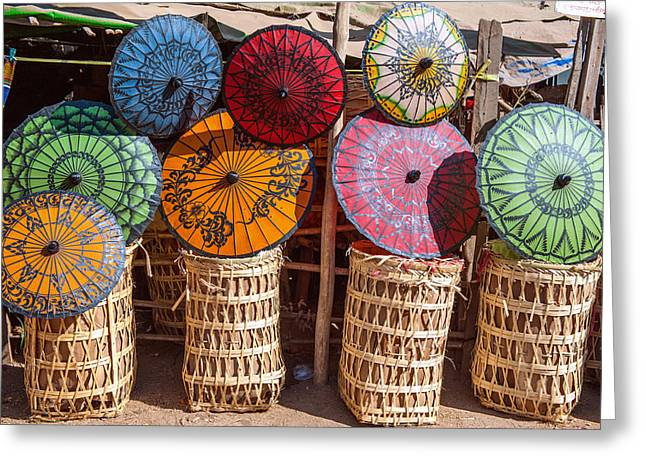 Umbrellas Pyrography Greeting Cards - Pathein Umbrellas Greeting Card by Judith Barath