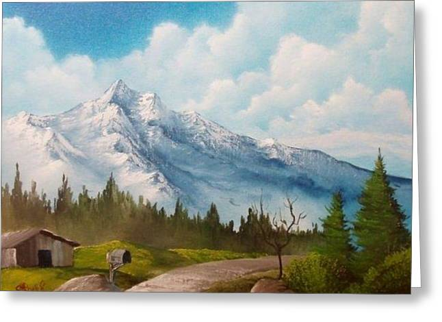 Chad Marshall Greeting Cards - Pathway By The Mountain Greeting Card by Chad Marshall