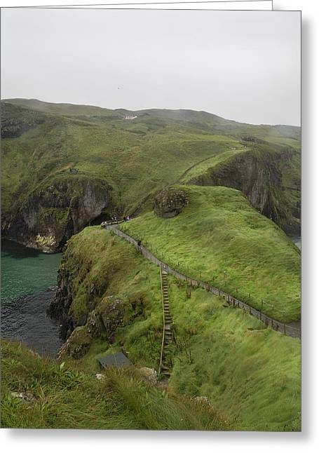 Modern Day Ruins Greeting Cards - Pathway Carrick-a-Rede Northern Ireland Greeting Card by Betsy A  Cutler