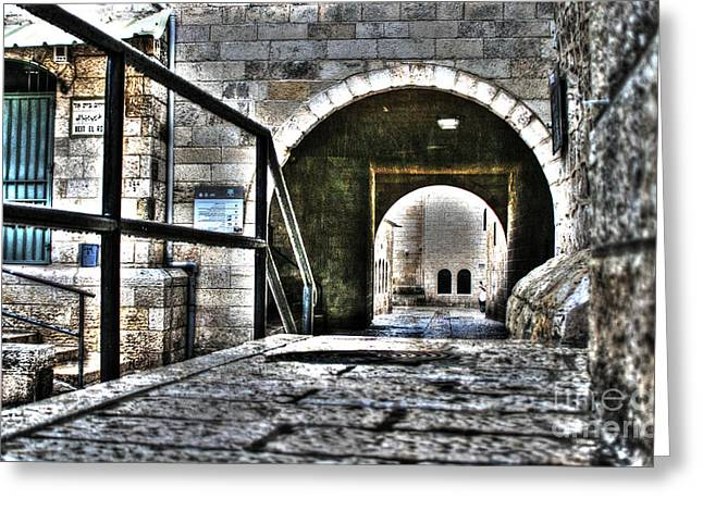 Old Western Photos Mixed Media Greeting Cards - Pathway Through Old Jerusalem Greeting Card by Michael Braham