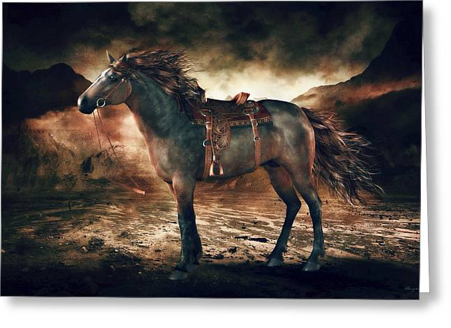 Horses In Print Greeting Cards - Patience Bay Horse Greeting Card by Shanina Conway