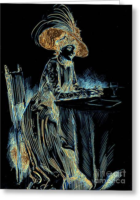Pen And Ink Drawing Photographs Greeting Cards - Patience Digital 1910 Greeting Card by Padre Art