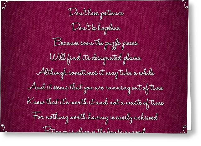 Positive Attitude Greeting Cards - Patience Greeting Card by Photography By Edelweiss