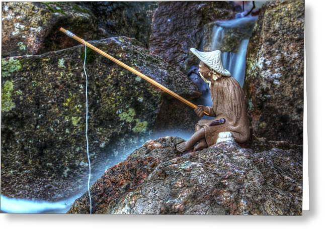 Concentration Greeting Cards - Patient Angler Greeting Card by Andrew Pacheco