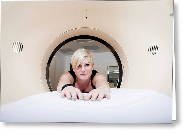 Patient In Ct Scanner Greeting Card by Thomas Fredberg