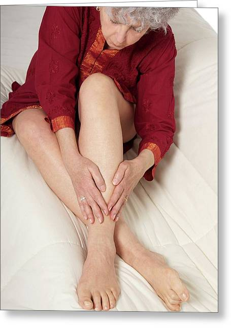 Patient Nursing A Sore Ankle Greeting Card by Lea Paterson