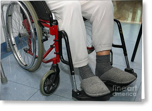 Inpatients Greeting Cards - Patient With Leg Problems Over The Wheelchairs Greeting Card by Federico Candoni