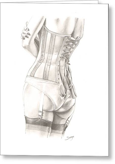 Suspenders Drawings Greeting Cards - Patiently Waiting Greeting Card by Richard Savage