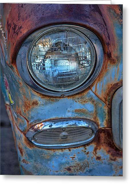Headlight Greeting Cards - Patinaed Headlight Greeting Card by Peter Tellone