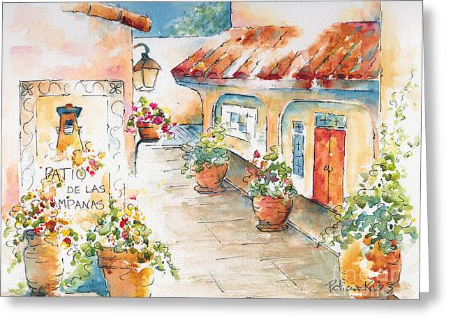 Sienna Greeting Cards - Patio De Las Campanas  Greeting Card by Pat Katz
