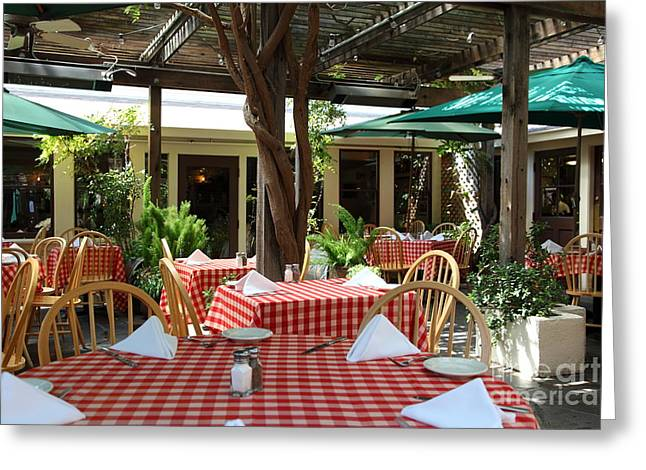 Patio Dining At The Swiss Hotel In Downtown Sonoma California 5D24439 Greeting Card by Wingsdomain Art and Photography
