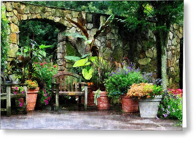 Patio Garden in the Rain Greeting Card by Susan Savad