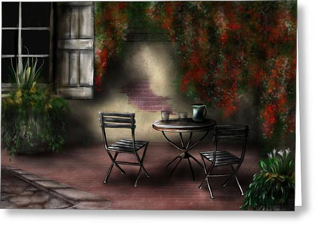 Table Wine Greeting Cards - Patio Garden Greeting Card by Ron Grafe