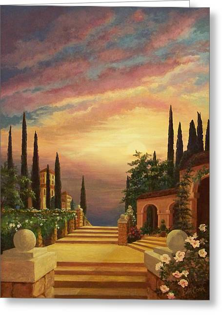 Sidewalks. Arches Greeting Cards - Patio il Tramonto or Patio at Sunset Greeting Card by Evie Cook