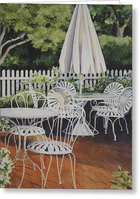 Patio Patterns Greeting Card by Sue Stephan Foster