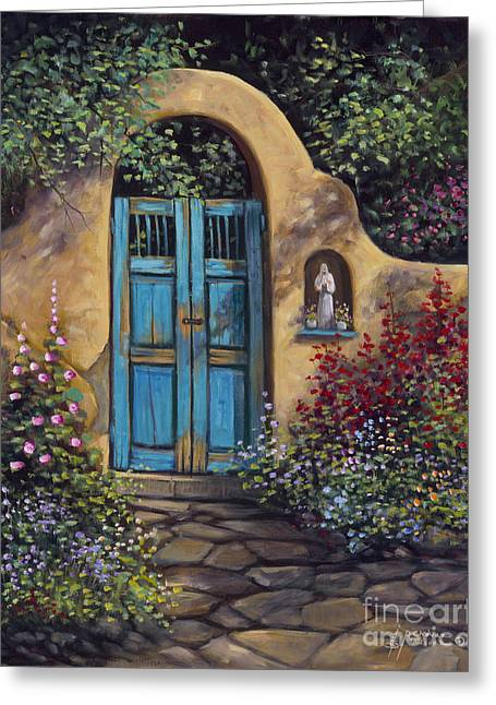 Stucco Greeting Cards - Patio Greeting Card by Ricardo Chavez-Mendez