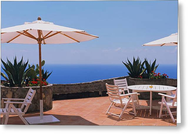 Patio Umbrellas In A Cafe, Positano Greeting Card by Panoramic Images