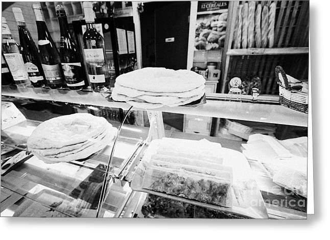 Patisserie Boulangerie With Local Catalan Speciality Pastries Wine Bread In Mont-louis Pyrenees-orie Greeting Card by Joe Fox