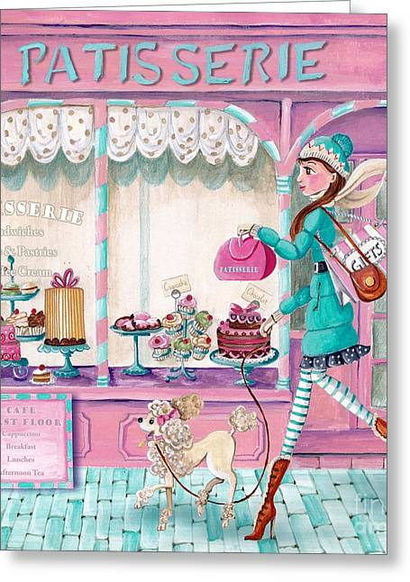 Tea Party Greeting Cards - Patisserie Greeting Card by Caroline Bonne-Muller