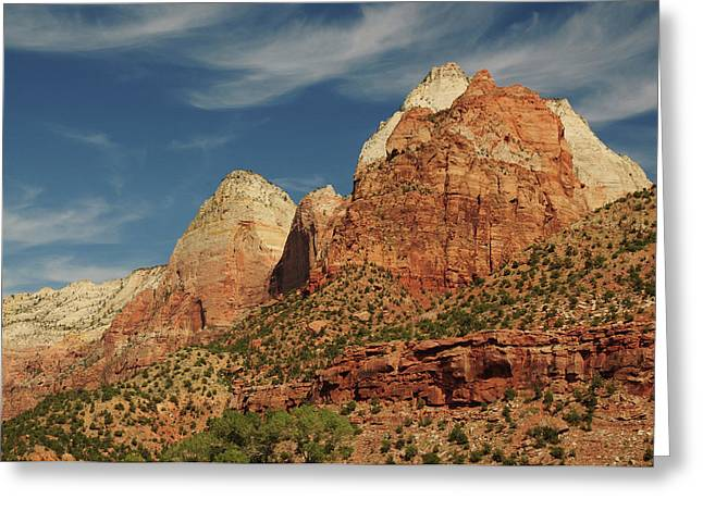 Patriarchs, Zion National Park, Utah Greeting Card by Michel Hersen