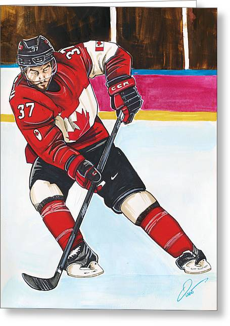 Sochi 2014 Winter Olympics Greeting Cards - Patrice Bergeron of Team Canada Greeting Card by Dave Olsen