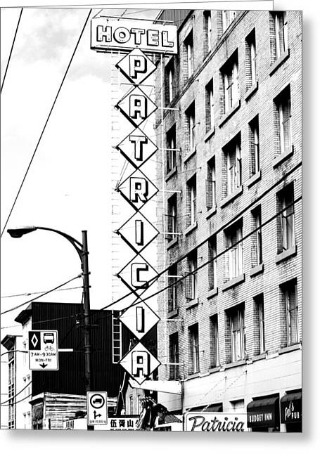 Hotel Window Greeting Cards - Patricia Hotel Greeting Card by Jerry Cordeiro