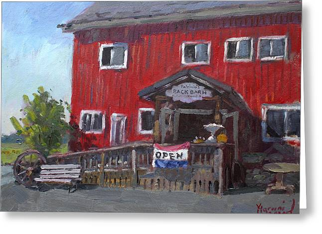 Red Barn Greeting Cards - Patricias Back Barn Greeting Card by Ylli Haruni