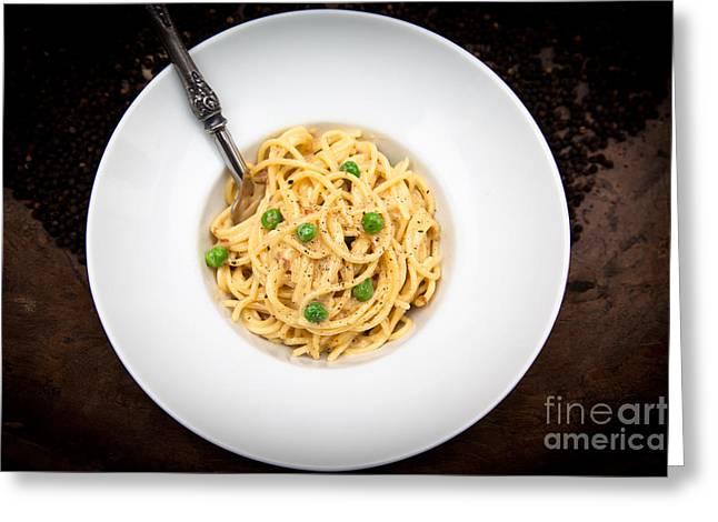 Spaghetti Noodles Greeting Cards - Patricias Pasta Carbonara Greeting Card by Patricia Bainter
