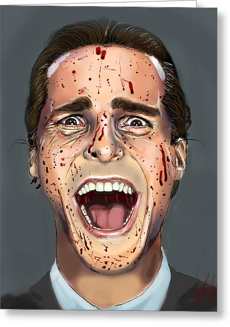 Christian Bale Greeting Cards - Patrick Bateman Greeting Card by Vinny John Usuriello