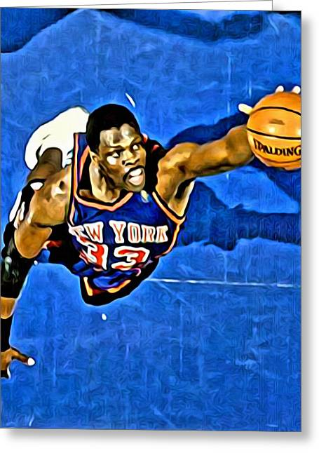 Best Sellers -  - Slamdunk Greeting Cards - Patrick Ewing Greeting Card by Florian Rodarte