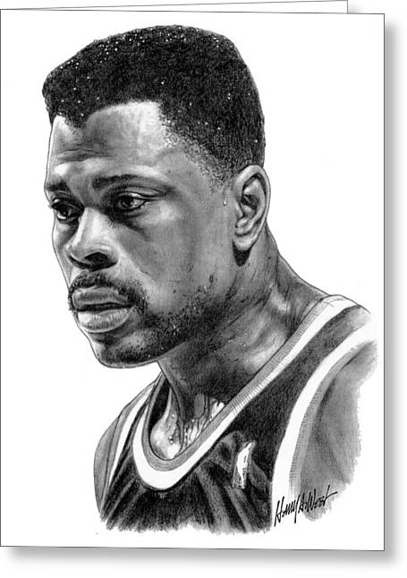 Knicks Drawings Greeting Cards - Patrick Ewing Greeting Card by Harry West