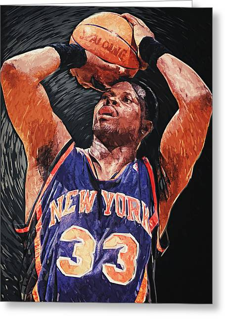 Recently Sold -  - Knicks Greeting Cards - Patrick Ewing Greeting Card by Taylan Soyturk