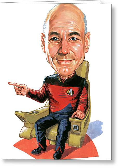 Scifi Greeting Cards - Patrick Stewart as Jean-Luc Picard Greeting Card by Art