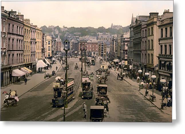 Patrick Street In Cork Ireland - 1900 Greeting Card by Mountain Dreams