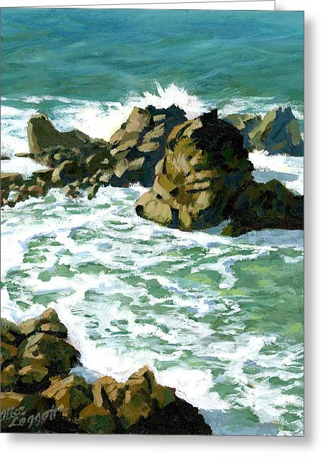 Ocean Shore Greeting Cards - Patricks Point Rocks Greeting Card by Alice Leggett