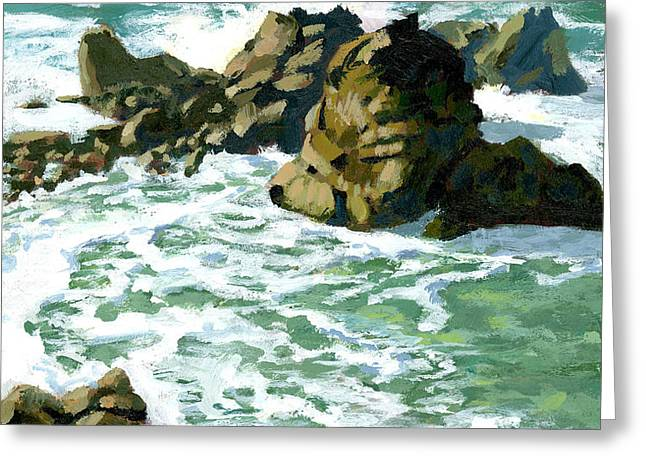 Patricks Point Rocks Greeting Card by Alice Leggett