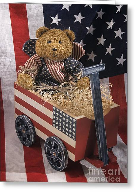 Star Stuff Greeting Cards - Patriot Bear Greeting Card by Sharon Elliott