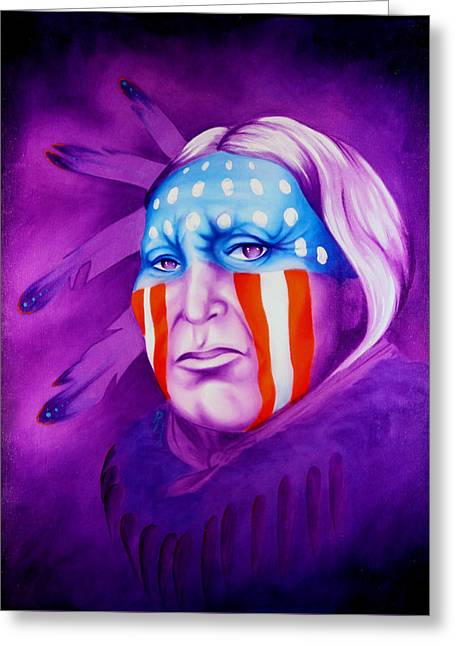 Contemporary Western Contemporary Greeting Cards - Patriot Greeting Card by Robert Martinez