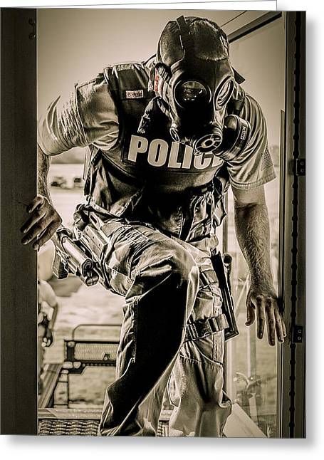 Police Officer Photographs Greeting Cards - Patriot3 Second Floor Entry Greeting Card by David Morefield