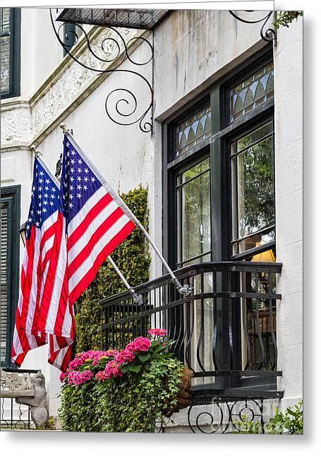 Patriotic Savannah Greeting Cards - Patriotic Balcony Savannah Georgia Greeting Card by Dawna  Moore Photography