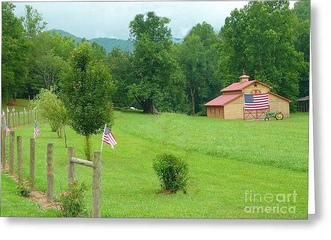 Red Roofed Barn Greeting Cards - Patriotic Barn Greeting Card by Annette Allman