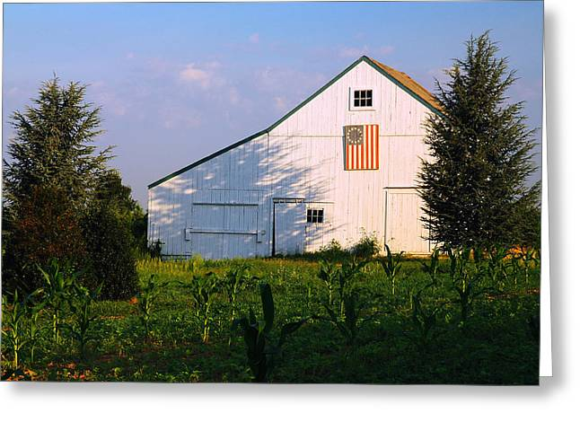 New York State; American Landscape; Rural; Countryside; New England; Church; Woodland; Trees; Hudson River School Greeting Cards - Patriotic Barn Greeting Card by James Kirkikis