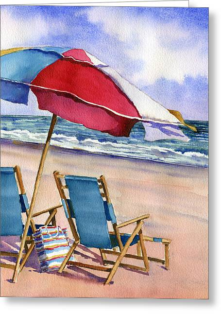 Patriotic Beach Umbrellas Greeting Card by Beth Kantor