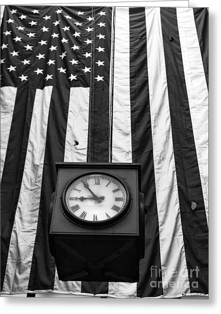 Patriotic Photography Greeting Cards - Patriotic Clock mono Greeting Card by John Rizzuto