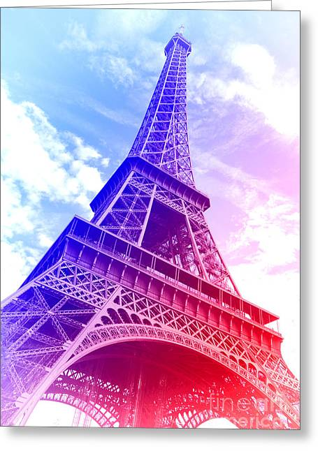 Colorized Greeting Cards - Patriotic Eiffel Tower Greeting Card by Olivier Le Queinec