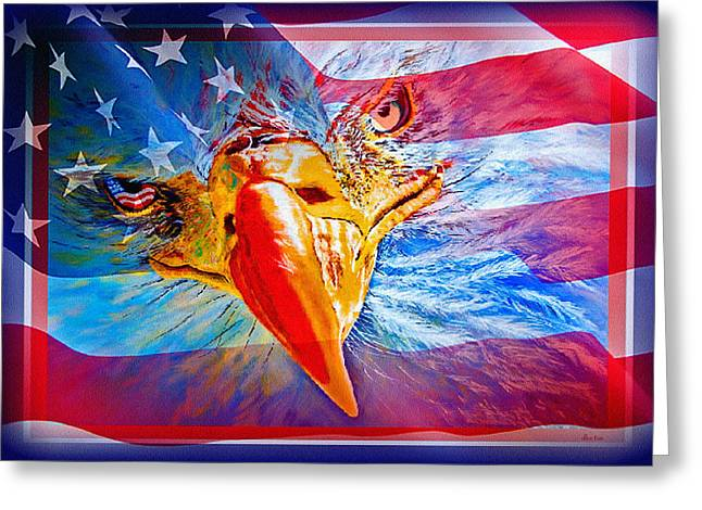 Serve Mixed Media Greeting Cards - Patriotic EYEcon Greeting Card by Donna Proctor